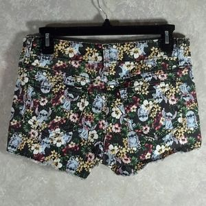 DISNEY | Cute Floral Stitch Graphic Denim Shorts 1